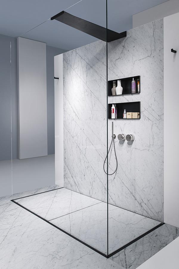 Sistema doccia filopavimento con box integrato space - Piatto doccia mosaico ...